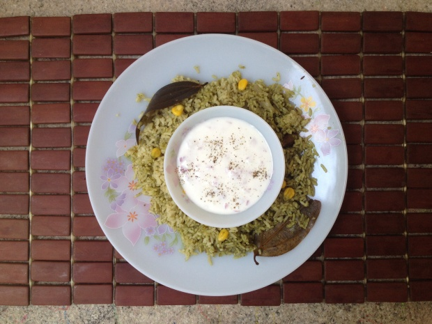 Sweet Corm palak Biryani5